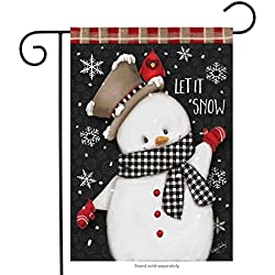 "Briarwood Lane Celebrate Winter Snowman Primitive Garden Flag Cardinal Snowflakes 12.5"" x 18"""