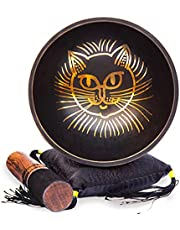 Tibetan Singing bowl Set - Easy To Play Cat Design Meditation Mindful 7 Chakra Sound Healing Handcrated Gift By HIMALAYAN BAZAAR