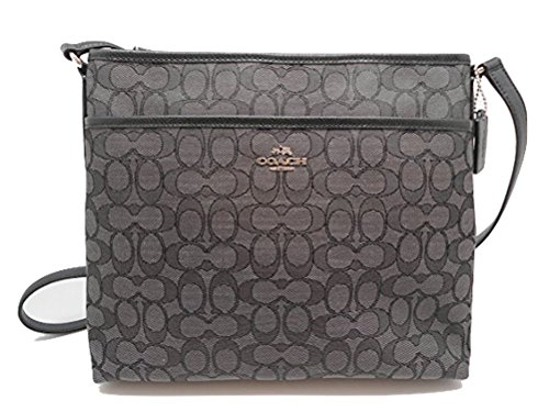 Coach Outline Signature File Bag Crossbody - Black/Smoke/Black