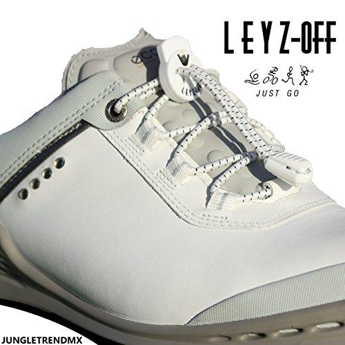 LEYZ Off Agujetas Elásticas | Elastic Shoe Laces - Ajustables - No Tie - Stress Free Shoelaces - Blanco