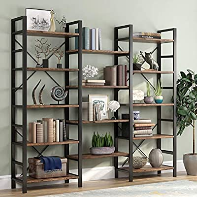 "Tribesigns Triple Wide 5-Shelf Bookcase, Etagere Large Open Bookshelf Vintage Industrial Style Shelves Wood and Metal bookcases Furniture for Home & Office (Retro Brown) - 【Triple & Open Design】: It measures 70"" H x 70.86"" W x 12.59"" D. This 14 open Bookshelves showcase your favorite books, records, or decorative pieces all in one place. 【Modern & industrial charm】: It pairs a black steel frame with fourteen retro brown manufactured wood shelves. This industrial-inspired bookshelves, for an eye-catching display vignette. 【DURABLE AND STURDY】: Built from durable engineered wood with a sturdy steel frame, reinforced by crossbar on the back, our elegant bookcase is built to last and is sturdy enough to hold all of your items. - living-room-furniture, living-room, bookcases-bookshelves - 51MnE5xgzOL. SS400  -"