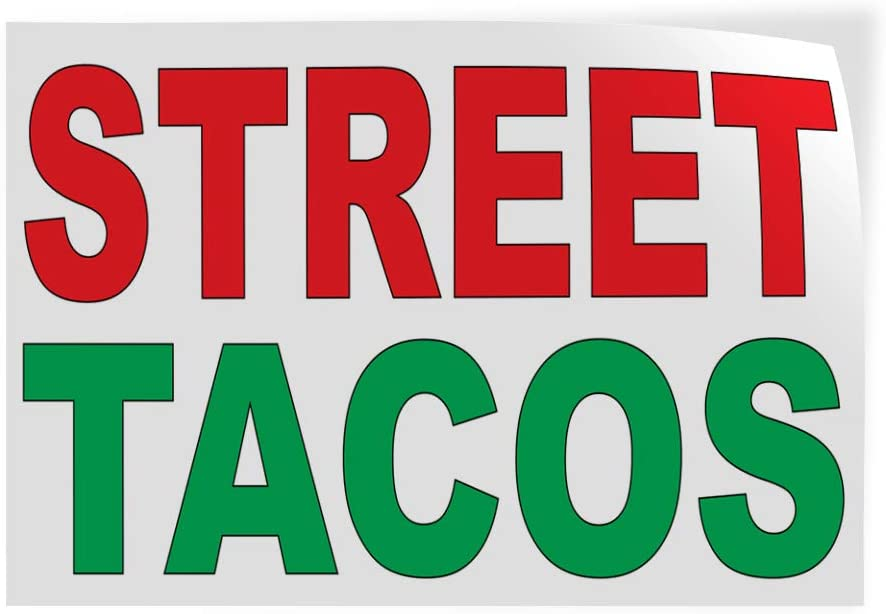 Decal Stickers Multiple Sizes Street Tacos Red Green Bar Restaurant Food Truck Industrial Vinyl Safety Sign Label Food & Beverage 20x14Inches