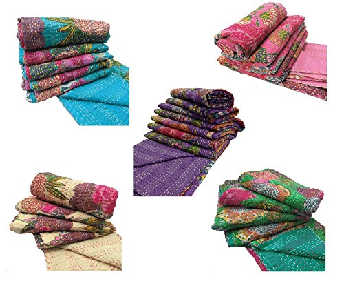 beautiful Attractive kantha Indian Home Decor Bedspread LOT of 5 Pcs. Size 90 X 108 inches ( double bed spread) by NANDNANDINI