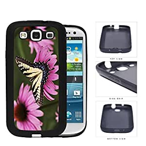 Yellow Butterfly And Pink Flower Garden Rubber Silicone TPU Cell Phone Case Samsung Galaxy S3 SIII I9300