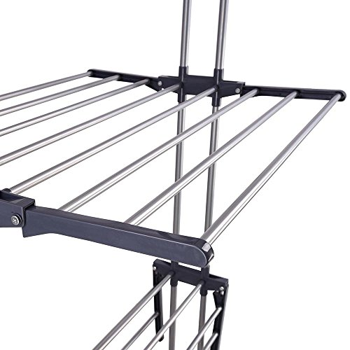 Yeshom Foldable 3 Tier Clothes Drying Rack Rolling