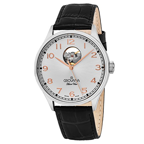 Grovana Mens Silver Face 42MM Swiss Automatic Black Leather Strap Watch 1190.2598 - 51MnEwvyi6L - Grovana Mens Silver Face 42MM Swiss Automatic Black Leather Strap Watch 1190.2598