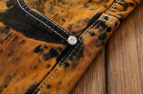 Retro A Vita Casual Denim Strappati Huixin Bassa Elasticizzati Uomo Senza Cinturino Da Pantaloni Skinny Retrobrown Jeans CFUC0xwq1