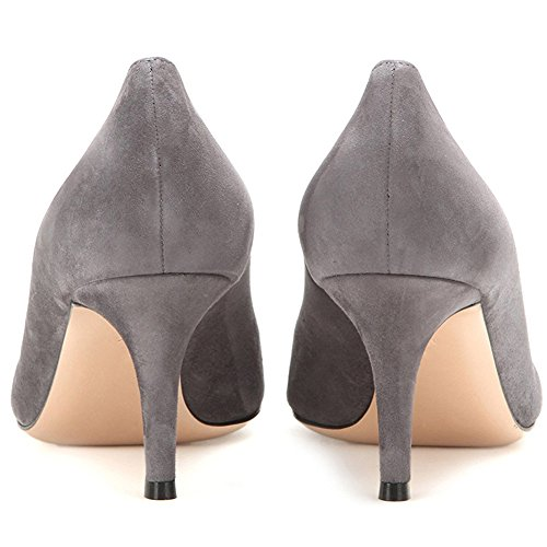 Comfity Kitten Heels For Women, Slip On Heeled Pumps Sexy Pointed Toe Low Heels Dress Party Pumps Gray-suede