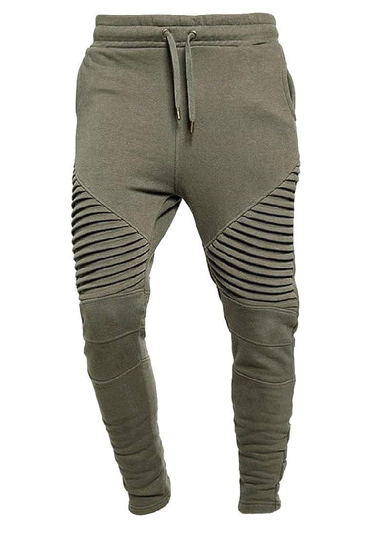 RomantcMen High Waist Beam Foot Slim Fitting Sports Causal Jogger Pants