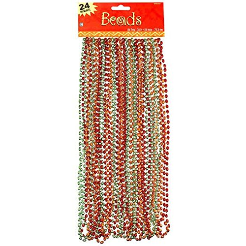 "Nice Amscan Cinco De Mayo Fiesta Party Metallic Beaded Necklaces (24 Piece), Multi Color, 17.3 x 6.5"" OUeEqUT6"