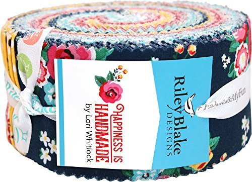 Lori Whitlock Happiness Is Handmade Rolie Polie 40 2.5-inch Strips Jelly Roll Riley Blake ()