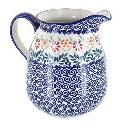 Blue Rose Polish Pottery Garden Bouquet Pitcher