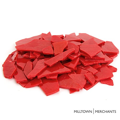 Milltown Merchants™ Red Stained Glass Pieces 1 lb – Opaque Stained Glass Cobbles – Broken Glass Chips for Stepping Stones and Crafts – Bright Color Glass Coblets