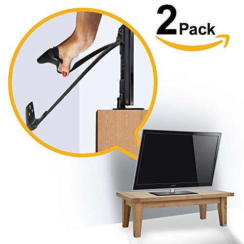 ELLA'S FURNITURE STRAP, Heavy Duty TV Straps, No Plastic Parts, Anti Tip Earthquake Resistant Furniture Anchor, Best Wall Anchors, TV Anchor for Children, Child & Baby Proof, Black