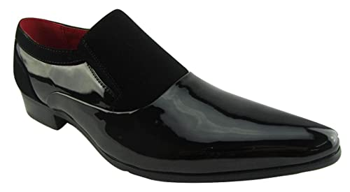 a06ebe560fcd Image Unavailable. Image not available for. Colour: Rossellini Hackney Men  Shoes Black Nubuck Leather Lined Pointed Slip On Smart 45