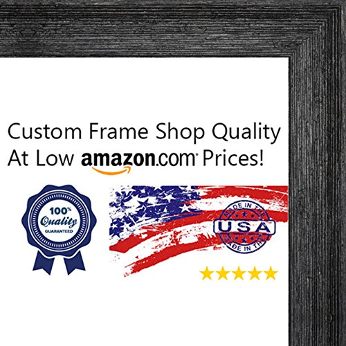 11x14 Distressed/Aged Black Wood Picture Frame - UV Acrylic, Foam Board Backing, & Hanging Hardware Included!