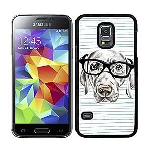 Funda carcasa para Samsung Galaxy S5 Mini perro con gafas borde negro