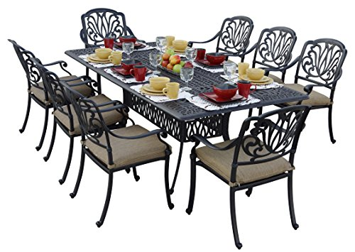 Darlee 9 Piece Elisabeth Antique Bronze Finish Cast Aluminum Set with Seat Cushions, 44'' x 84''