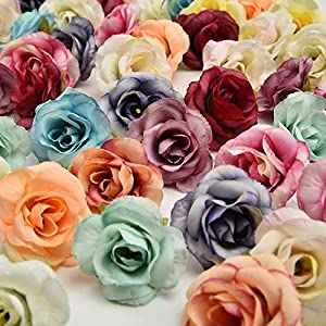 Artificial Flowers in Bulk Wholesale Small Tea Bud Simulation Small Tea Rose Silk Flower Decoration Flower Head DIY Accessories 30pcs 3cm (Multicolor) 3
