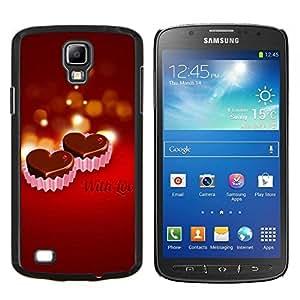 KLONGSHOP // Cubierta de piel con cierre a presión Shell trasero duro de goma Protección Caso - CON AMOR - Samsung Galaxy S4 Active i9295 //