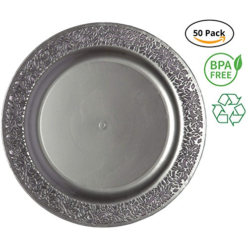 (Party Joy 'I Can't Believe It's Plastic' 50-Piece Plastic Salad Plate Set | Lace Collection | Heavy Duty Premium Plastic Plates for Wedding, Parties, Camping & More (Grey))