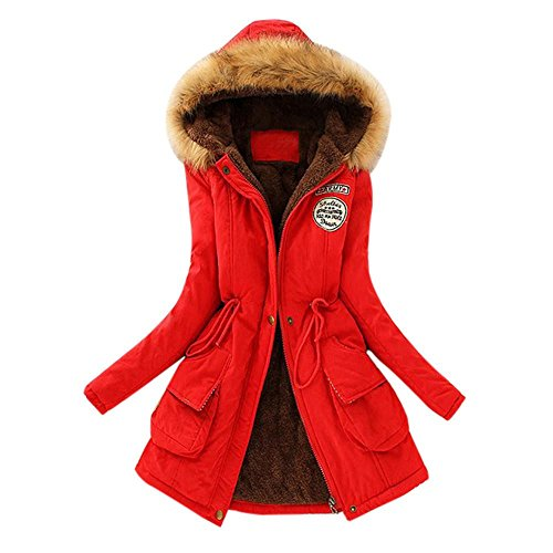 Price comparison product image Challyhope Women Faux Fur Lined Parka Coats Long Hooded Jacket Winter Warm Outwears (M, Red)