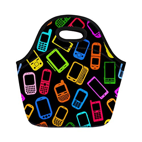 (Semtomn Neoprene Lunch Tote Bag Colorful Phone Made Mobile Devices on Smartphone Pattern Cellphone Reusable Cooler Bags Insulated Thermal Picnic Handbag for Travel,School,Outdoors,Work )