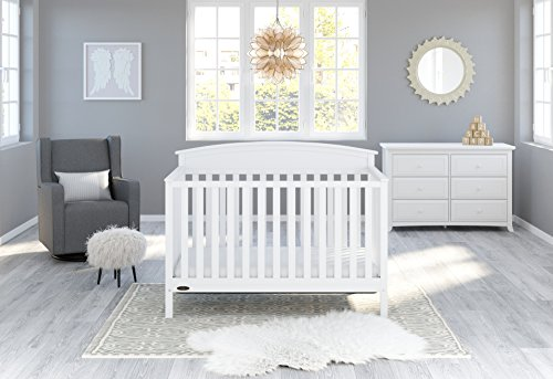Graco Benton 4-in-1 Convertible Crib (White) - Easily Converts to Toddler Bed, Daybed or Full-Size Bed with Headboard, 3-Position Adjustable Mattress Support Base