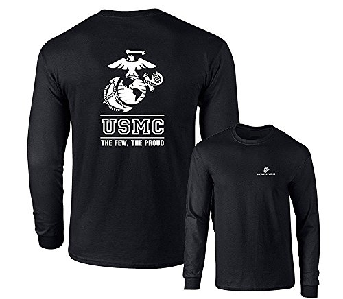 (Lucky Ride Marines USMC The Few The Proud White Emblem F&B Long Sleeve T-Shirt, Black, XL)