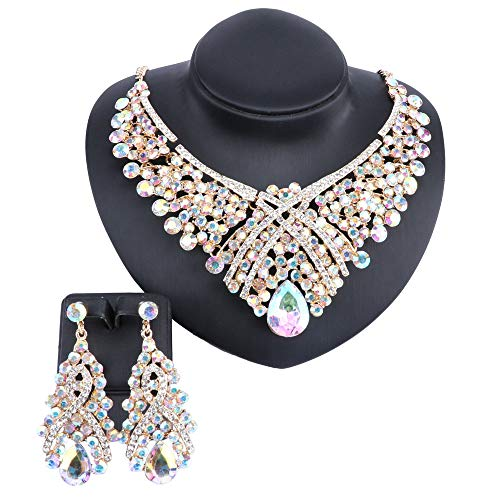 (Women Crystal Jewelry Set Teardrop Rhinestone Statement Necklace Earrings Sets for Wedding Party with Boxes (AB))