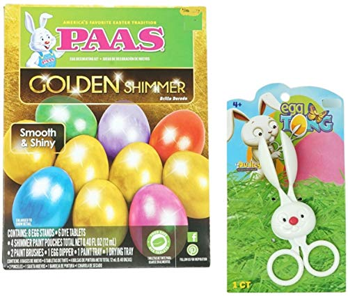 (Easter Egg Dye Bundle - Golden Shimmer Dye Kit with Bunny Egg Dipper Tong)