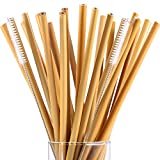 Hestya 20 Pieces 7.5 inch Reusable Bamboo Drinking Straws Alternative to Plastic Kids Straws Includes 2 Pieces Nylon Cleaning Brushes