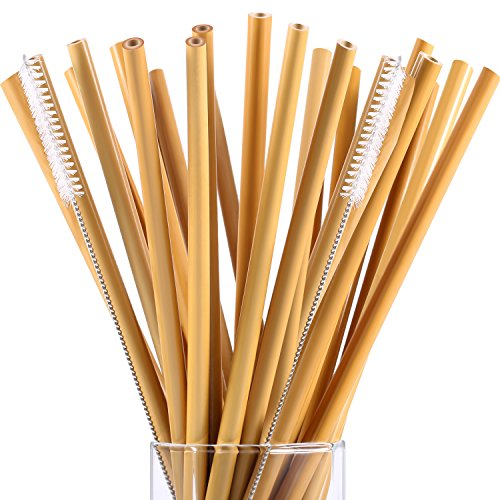 20 Pieces 7.5 inch Reusable Bamboo Drinking Straws Alternative to Plastic Kids Straws Includes 2 Pieces Nylon Cleaning ()