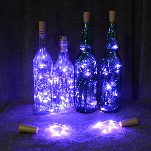 Homeleo Wine Bottle Cork Lights Copper Wire String Lights for Wedding, Festival, Party Decor (6Pack, Purple)