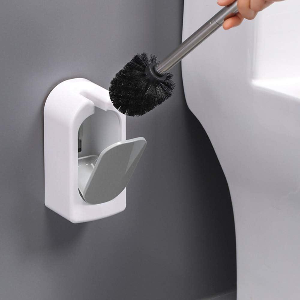 unbrand Gresunny Scopino e Supporto per Toilette Portascopino in Silicone Montaggio a Parete Scopino WC con Manico in Acciaio Inossidabile Spazzolone Bagno WC Set di Spazzole per Pulizia WC per Bagno