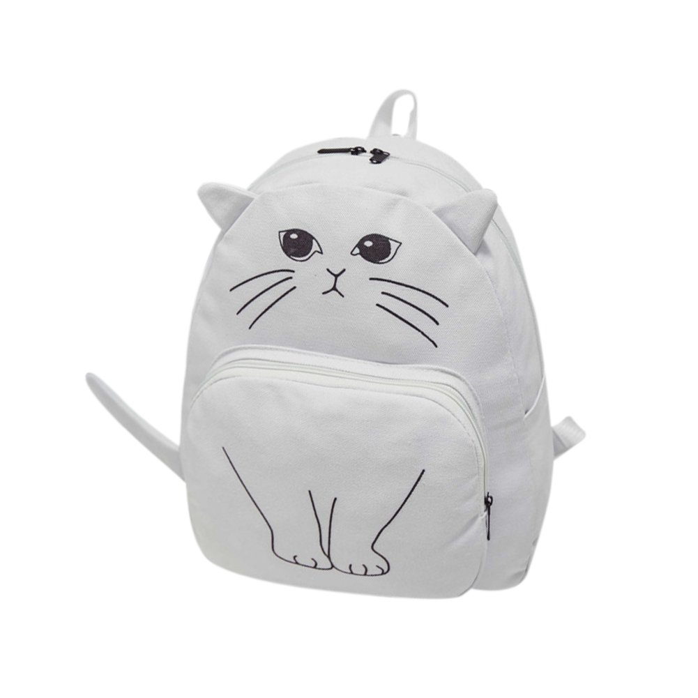 Adorable Cartoon Cat Canvas Backpack with A Super Cute Tail Decoration School Bag Double Shoulder Backpack for Women Girl's Lovely Gift