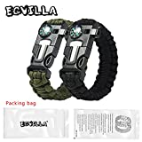 2 PACK Multifunctional Paracord Bracelet, ECVILLA Outdoor Survival Kit Parachute Cord Buckle W Compass Flint Fire Starter Scraper Whistle for Hiking Camping Emergency More (black+green)