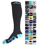 Compression Socks (1 pair) for Women & Men (Black & Blue, L/XL)