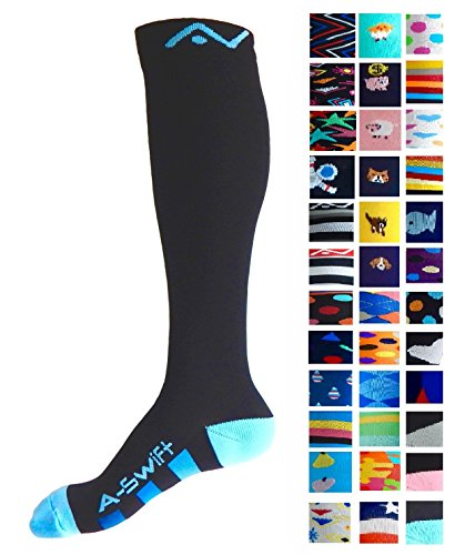Compression Socks (1 pair) for Women & Men (Black & Blue, L/XL) by A-Swift