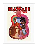 Hawaii - Trans World Airlines Fly TWA - _Ukulele Psychedelic Flower Power Art - Vintage Hawaiian Travel Poster by David Klein c.1960 - Hawaiian Fine Art Print - 20in x 26in