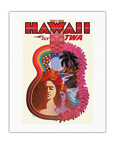 Hawaii - Trans World Airlines Fly TWA - _Ukulele Psychedelic Flower Power Art - Vintage Hawaiian Travel Poster by David Klein c.1960 - Hawaiian Fine Art Print - 20in x 26in by Pacifica Island Art
