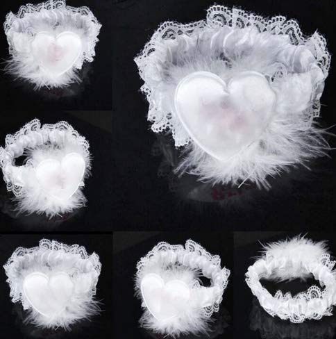Taka Co Bachorlette Party Supplies 1PC lovely wedding party favor Bachelorette supplies Sweet Bride to be lace garters hen night favorite bridal team partner-White