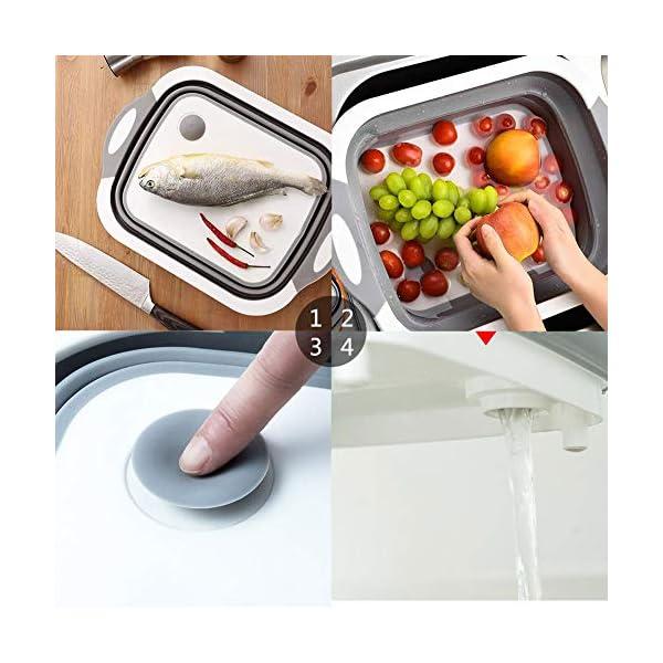 51MnHtp396L Gintan Schneidebrett Küche 3 in 1 Faltbare Schneidebret Kunststoff, Tragbares Schneidebrett Frühstücksbrettchen mit…