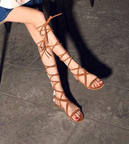 YOUJIA Mujeres Elegante Gladiator Sandalias Plano Botas de Rodilla Sandalia del Verano #1 Amarillo