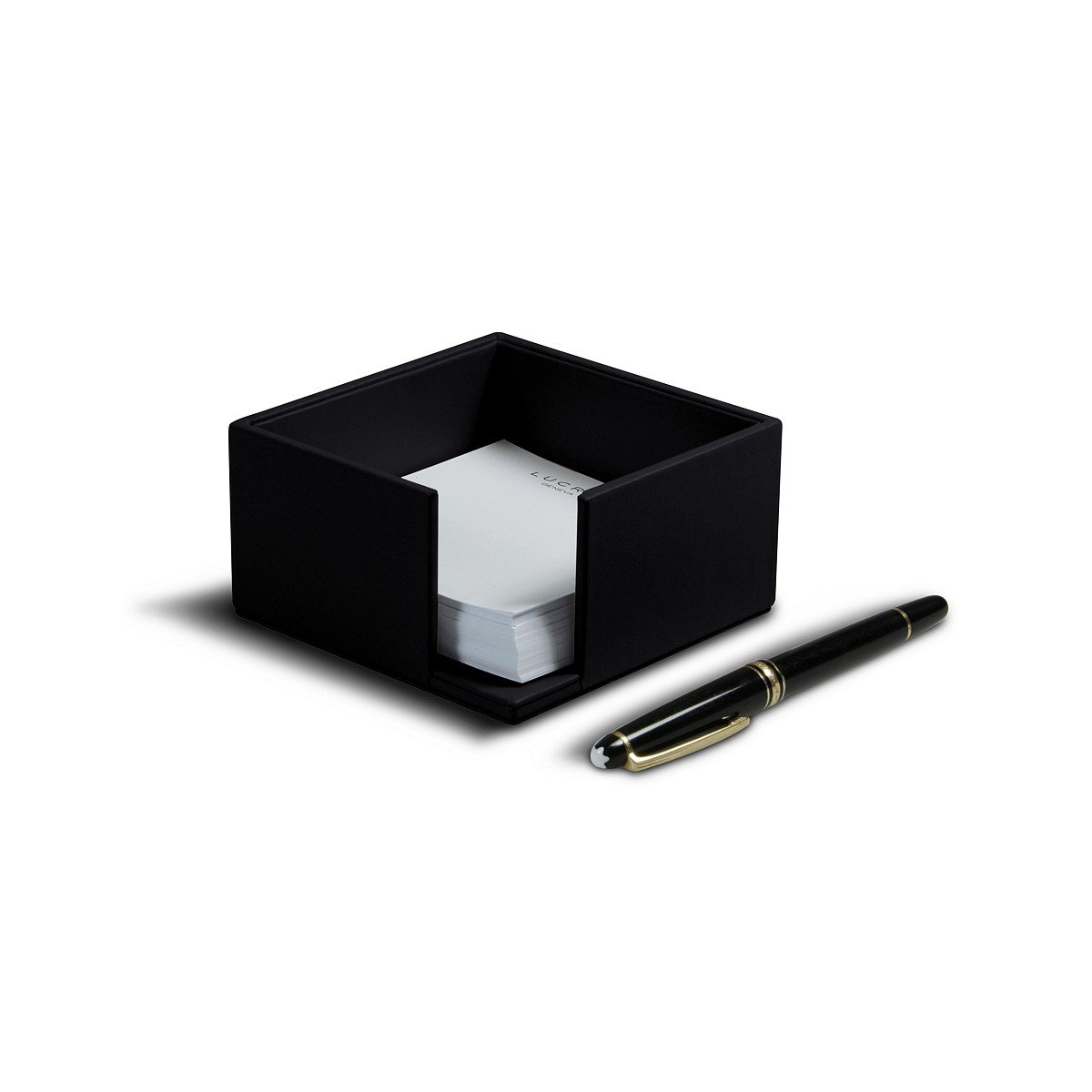 Lucrin - Memo paper holder (3.9'' x 3.9'' x 2.1'') - Black - Smooth Leather