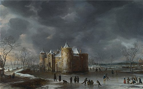 Oil Painting 'Jan Beerstraaten The Castle Of Muiden In Winter ' Printing On Perfect Effect Canvas , 16 X 26 Inch / 41 X 65 Cm ,the Best Laundry Room Decor And Home Decor And Gifts Is This Beautiful Art Decorative Canvas Prints