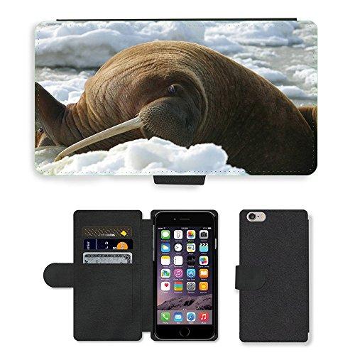 "Just Phone Cases PU Leather Flip Custodia Protettiva Case Cover per // M00128468 Walrus Vache Vie sauvage glace // Apple iPhone 6 PLUS 5.5"""