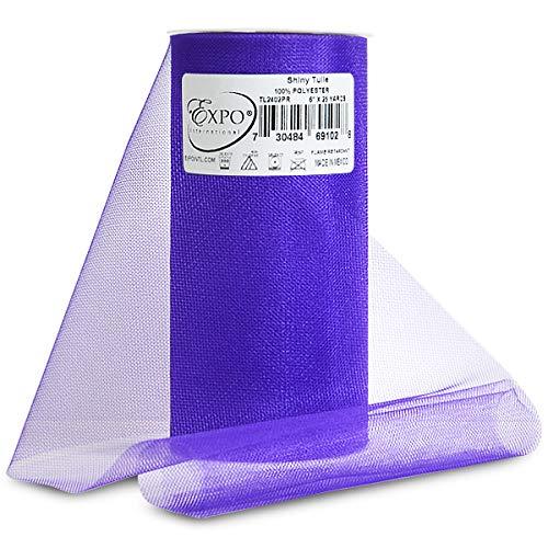 Expo Shiny Tulle Spool of 25-Yard, Purple -