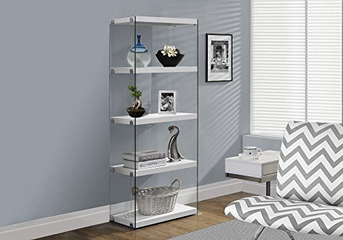 Monarch Specialties I Bookcase-5-Shelf Etagere Bookcase Contemporary Look with Tempered Glass Frame Bookshelf, 60 H, White
