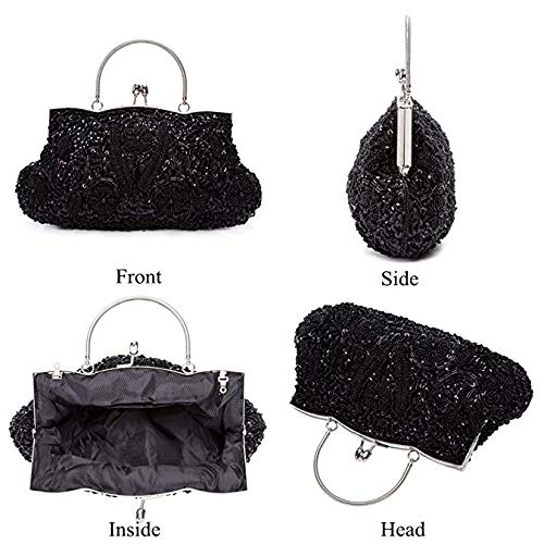 EROUGE Beaded Sequin Design Flower Evening Purse Large Clutch Bag (Black)